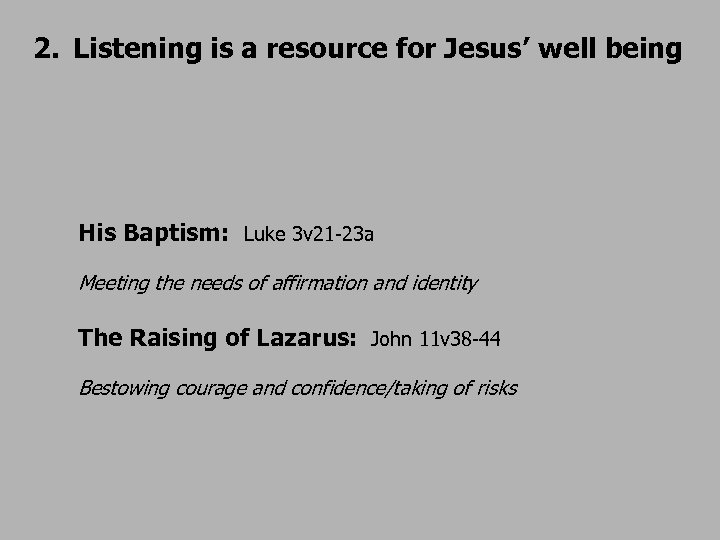 2. Listening is a resource for Jesus' well being His Baptism: Luke 3 v