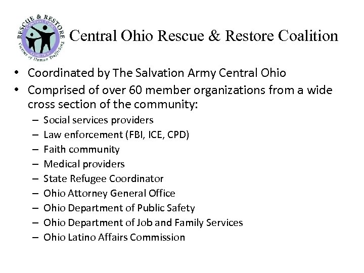 Central Ohio Rescue & Restore Coalition • Coordinated by The Salvation Army Central Ohio