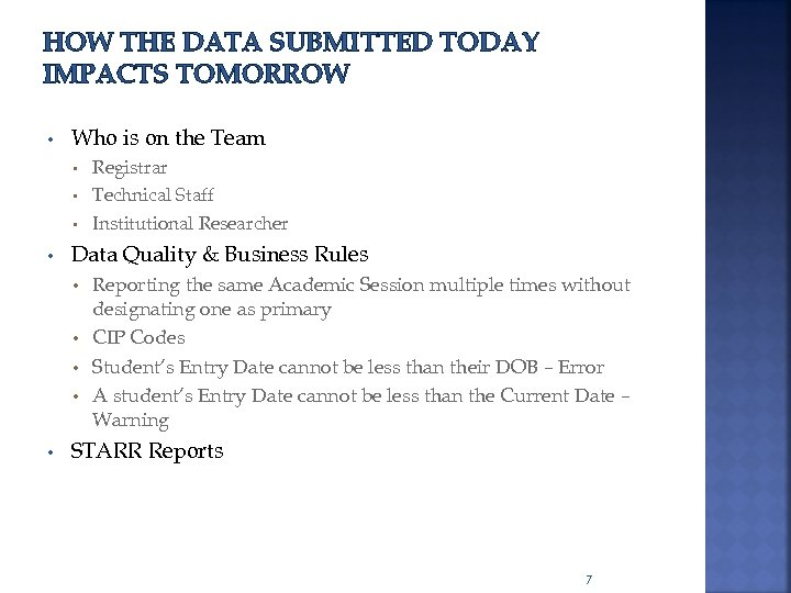 HOW THE DATA SUBMITTED TODAY IMPACTS TOMORROW • Who is on the Team Registrar