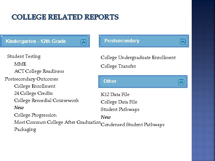 COLLEGE RELATED REPORTS Student Testing MME ACT College Readiness College Undergraduate Enrollment College Transfer