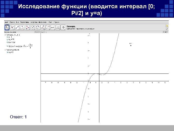 Исследование функции (вводится интервал [0; Pi/2] и y=a) Ответ: 1