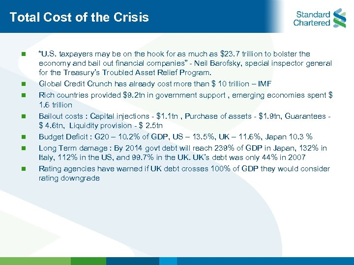 "Total Cost of the Crisis n n n n ""U. S. taxpayers may be"