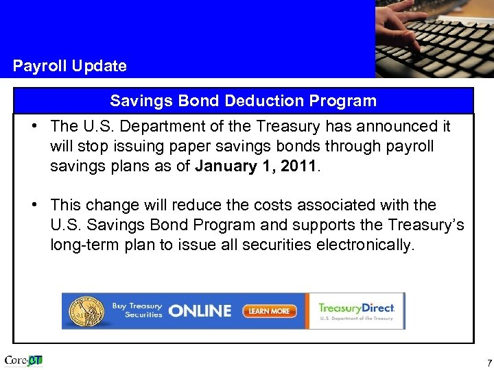 Payroll Update Savings Bond Deduction Program • The U. S. Department of the Treasury