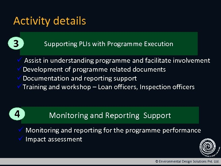 Activity details 3 Supporting PLIs with Programme Execution ü Assist in understanding programme and