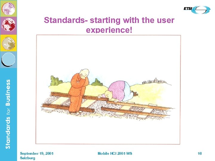 Standards- starting with the user experience! September 19, 2005 Salzburg Mobile HCI 2005 WS