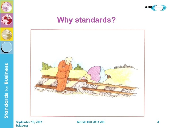 Why standards? September 19, 2005 Salzburg Mobile HCI 2005 WS 4