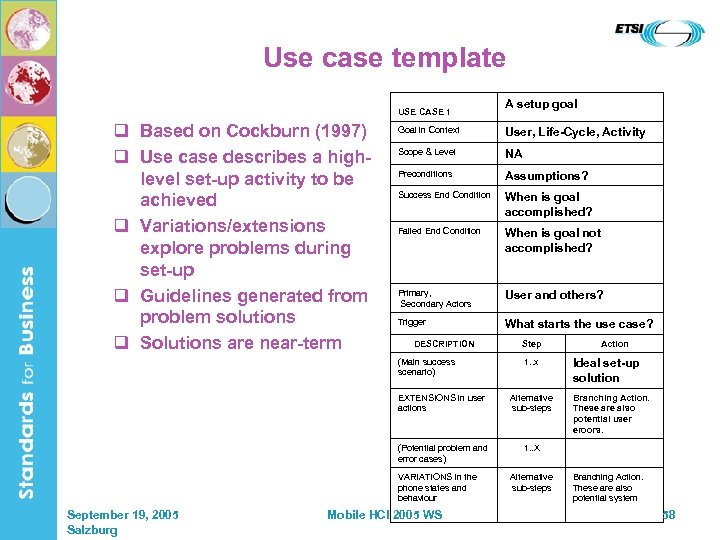 Use case template USE CASE 1 q Based on Cockburn (1997) q Use case