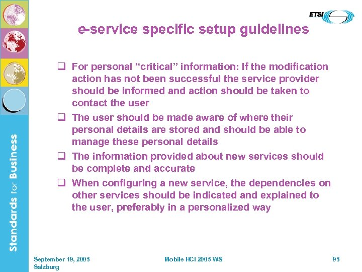 "e-service specific setup guidelines q For personal ""critical"" information: If the modification action has"