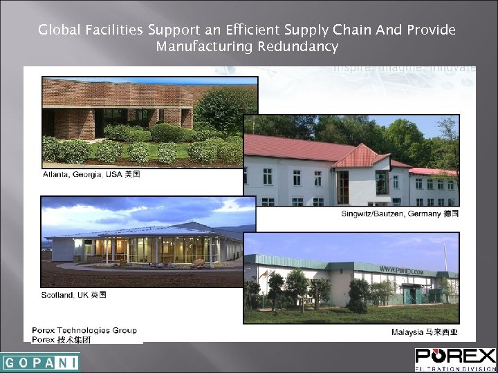Global Facilities Support an Efficient Supply Chain And Provide Manufacturing Redundancy