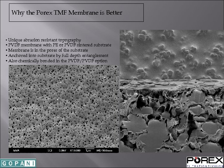 Why the Porex TMF Membrane is Better • Unique abrasion resistant topography • PVDF