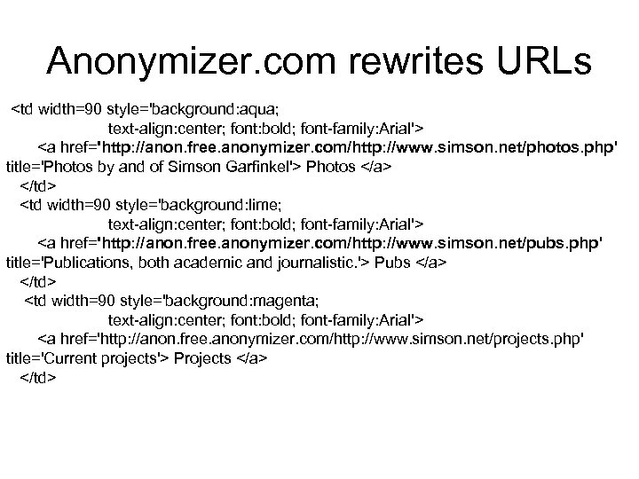 Anonymizer. com rewrites URLs <td width=90 style='background: aqua; text-align: center; font: bold; font-family: Arial'>