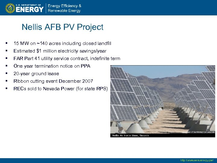 Nellis AFB PV Project § 15 MW on ~140 acres including closed landfill §