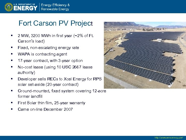 Fort Carson PV Project § 2 MW, 3200 MWh in first year (~2% of