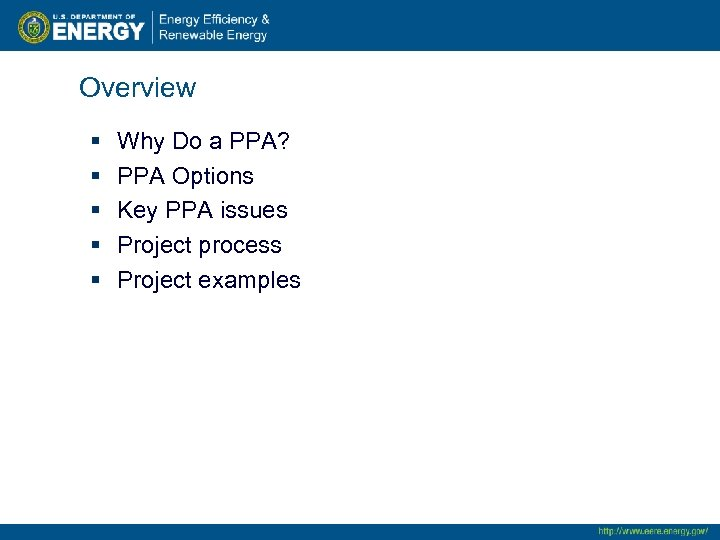 Overview § § § Why Do a PPA? PPA Options Key PPA issues Project
