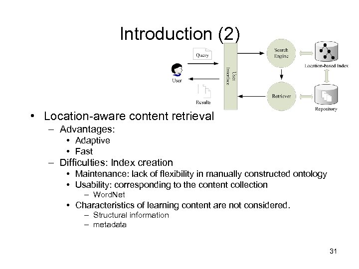Introduction (2) • Location-aware content retrieval – Advantages: • Adaptive • Fast – Difficulties: