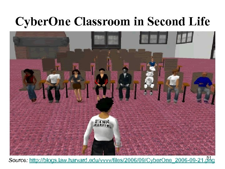 Cyber. One Classroom in Second Life 51 Source: http: //blogs. law. harvard. edu/vvvv/files/2006/09/Cyber. One_2006