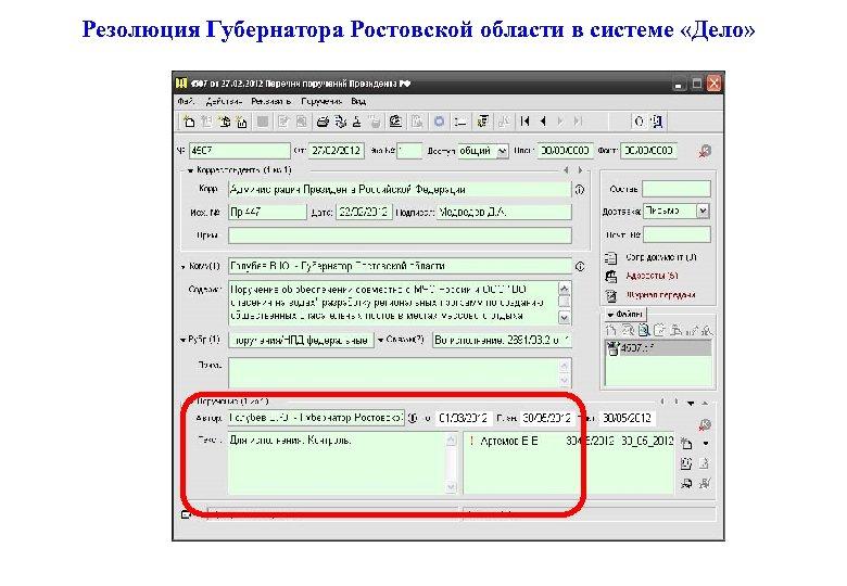 Резолюция Губернатора Ростовской области в системе «Дело»