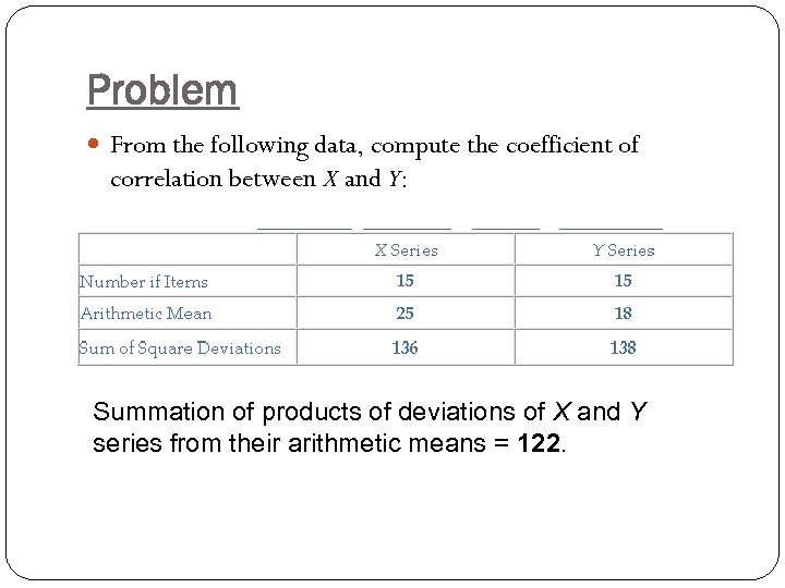 Problem From the following data, compute the coefficient of correlation between X and Y: