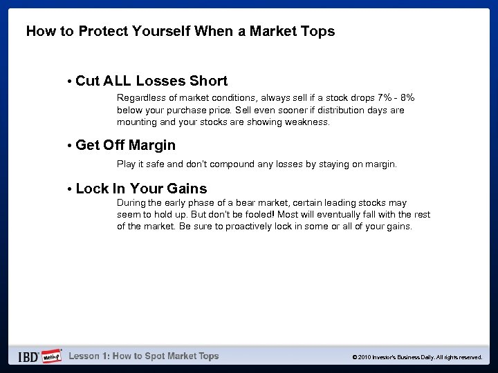 How to Protect Yourself When a Market Tops • Cut ALL Losses Short Regardless