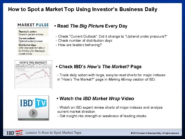 How to Spot a Market Top Using Investor's Business Daily • Read The Big