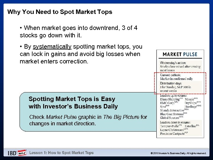 Why You Need to Spot Market Tops • When market goes into downtrend, 3