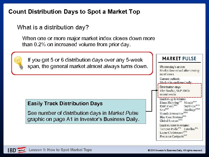 Count Distribution Days to Spot a Market Top What is a distribution day? When