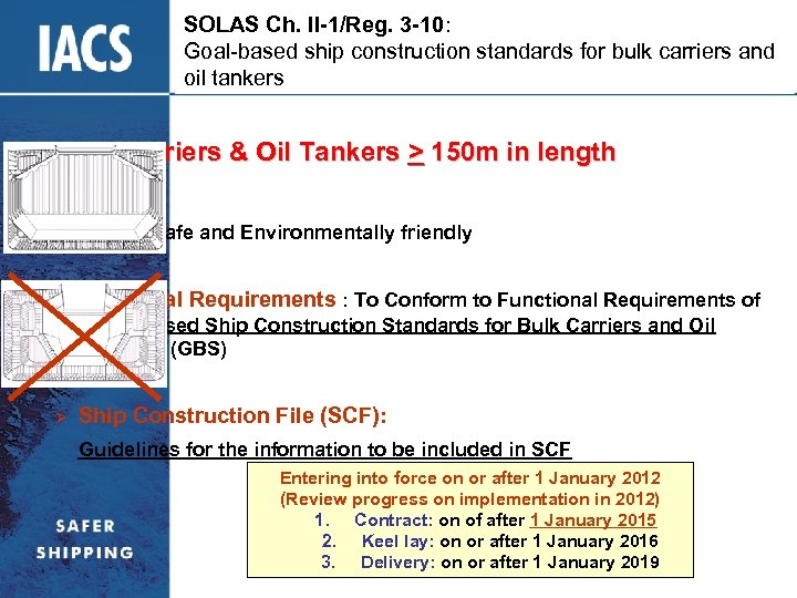 SOLAS Ch. II-1/Reg. 3 -10: Goal-based ship construction standards for bulk carriers and oil