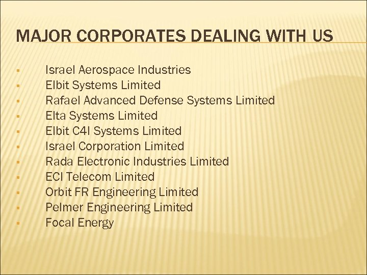 MAJOR CORPORATES DEALING WITH US § § § Israel Aerospace Industries Elbit Systems Limited