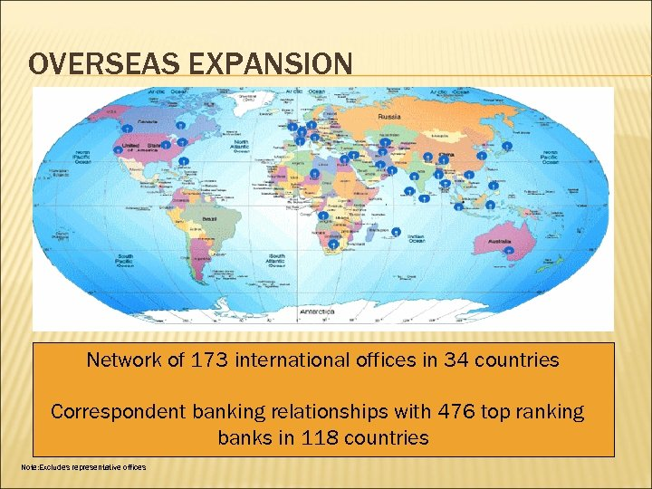 OVERSEAS EXPANSION Network of 173 international offices in 34 countries Correspondent banking relationships with