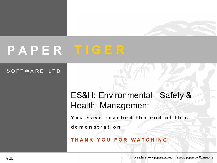 PAPER SOFTWARE TIGER LTD ES&H: Environmental - Safety & Health Management You have reached