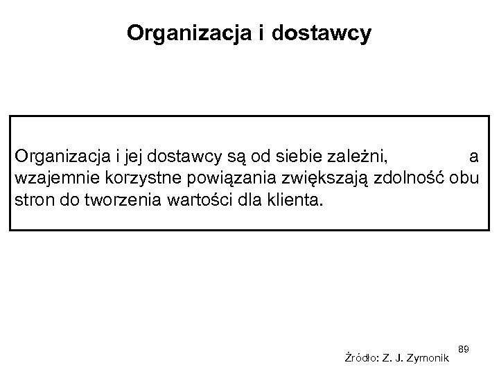 Organizacja i dostawcy Organizacja i jej dostawcy są od siebie zależni, a wzajemnie korzystne
