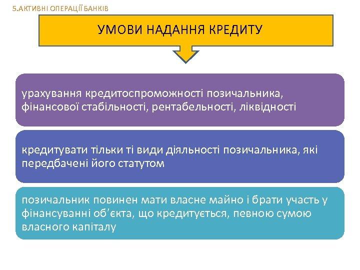 5. АКТИВНІ ОПЕРАЦІЇ БАНКІВ УМОВИ НАДАННЯ КРЕДИТУ урахування кредитоспроможності позичальника, фінансової стабільності, рентабельності, ліквідності