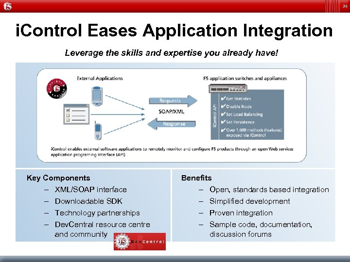 30 i. Control Eases Application Integration Leverage the skills and expertise you already have!