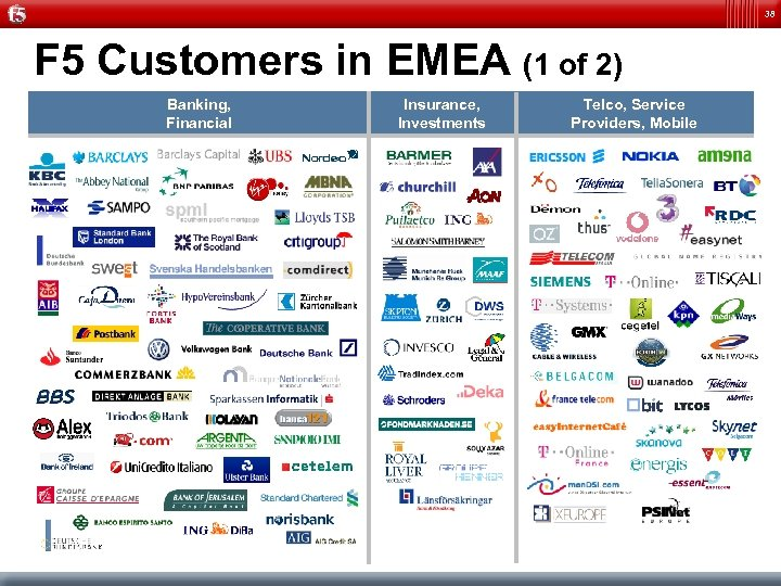 38 F 5 Customers in EMEA (1 of 2) Banking, Financial Insurance, Investments Telco,