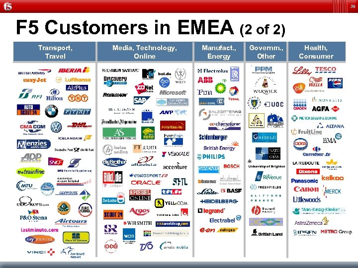 39 F 5 Customers in EMEA (2 of 2) Transport, Travel Media, Technology, Online
