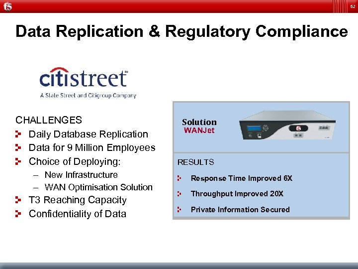 52 Data Replication & Regulatory Compliance CHALLENGES Daily Database Replication Data for 9 Million