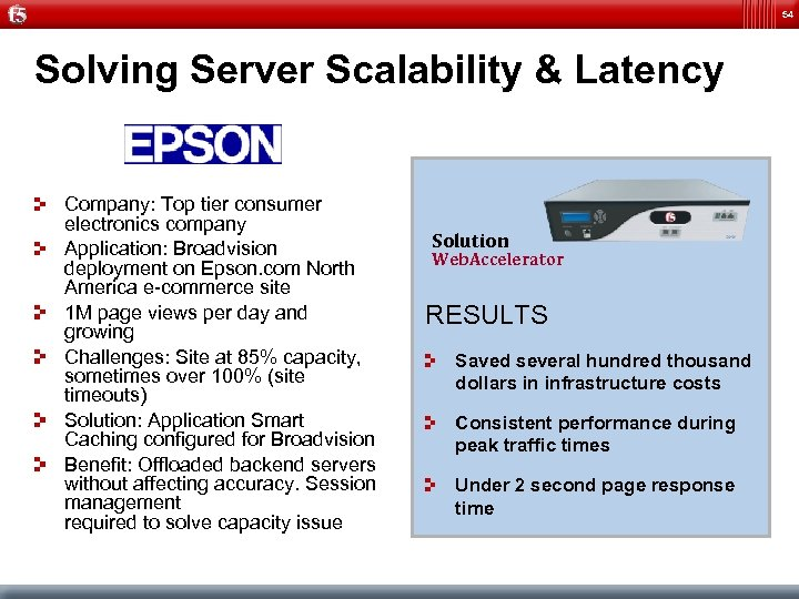 54 Solving Server Scalability & Latency Company: Top tier consumer electronics company Application: Broadvision