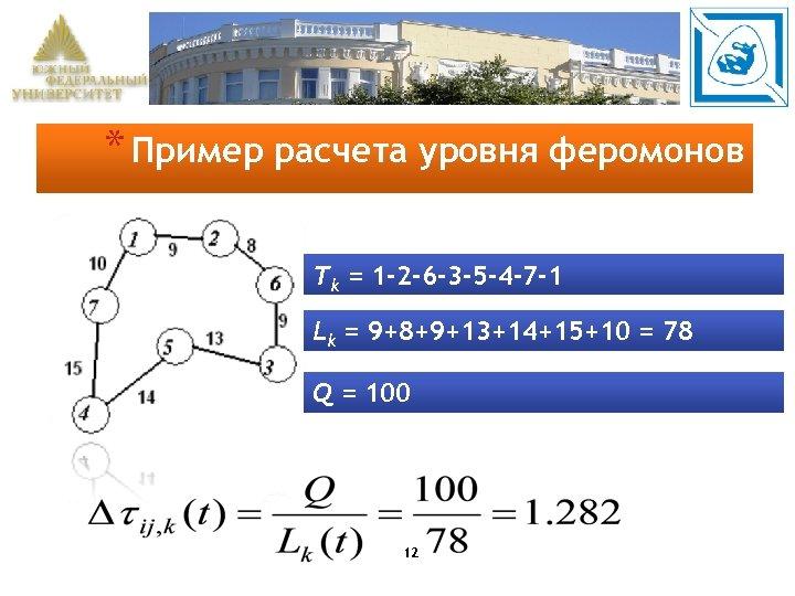 * Пример расчета уровня феромонов Tk = 1 -2 -6 -3 -5 -4 -7