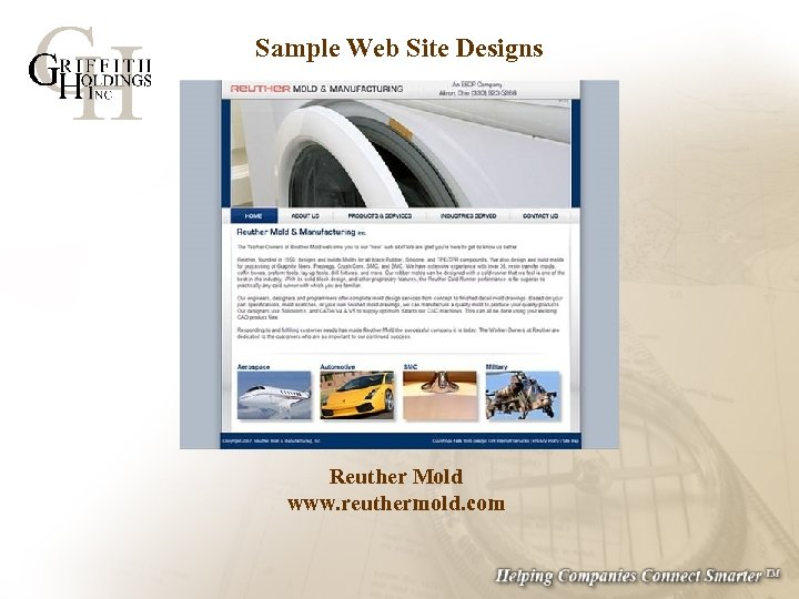 Sample Web Site Designs Reuther Mold www. reuthermold. com