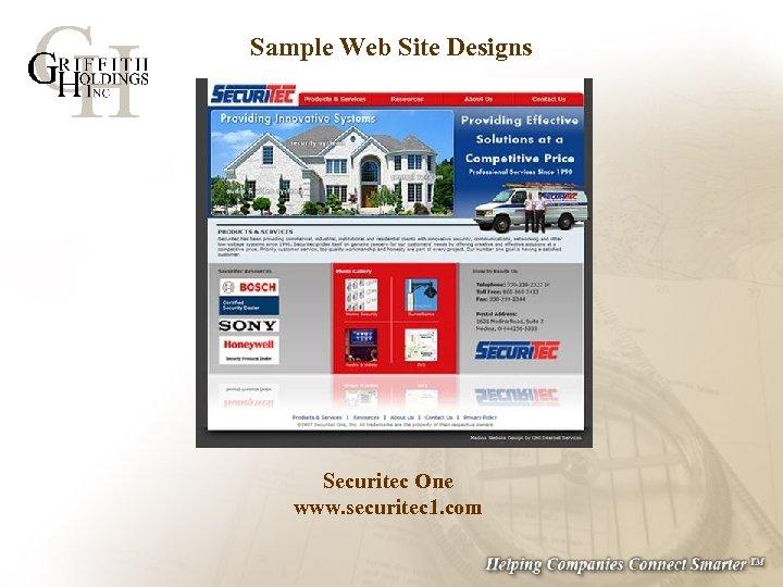Sample Web Site Designs Securitec One www. securitec 1. com