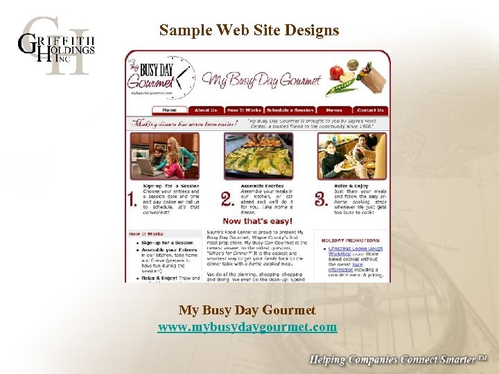 Sample Web Site Designs My Busy Day Gourmet www. mybusydaygourmet. com