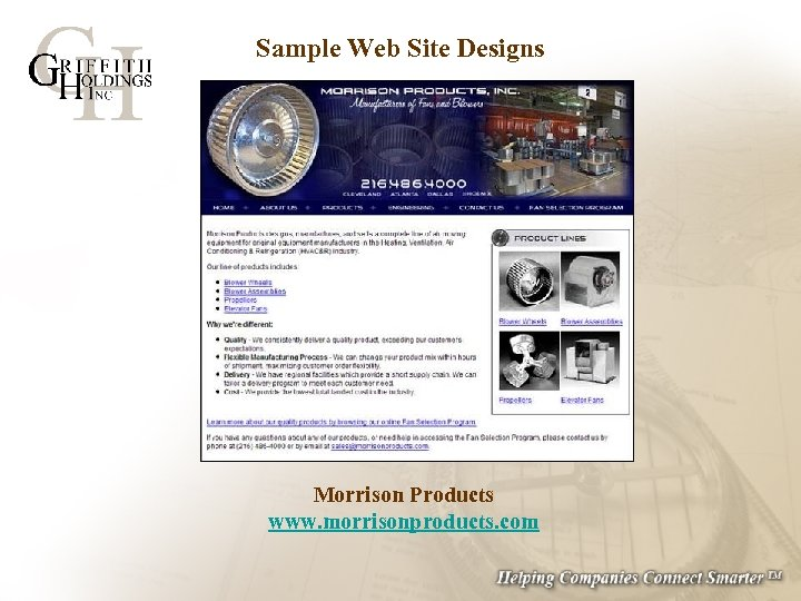 Sample Web Site Designs Morrison Products www. morrisonproducts. com