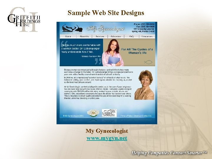Sample Web Site Designs My Gynecologist www. mygyn. net