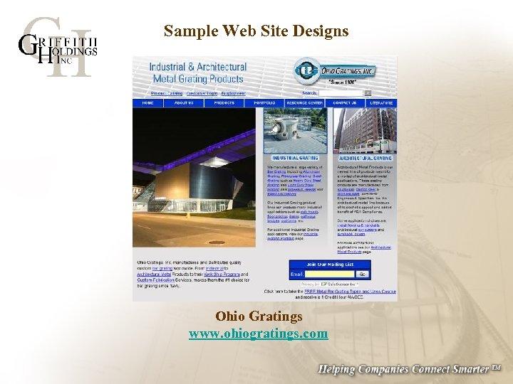 Sample Web Site Designs Ohio Gratings www. ohiogratings. com