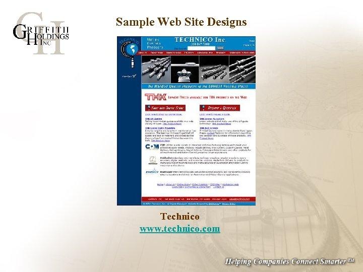 Sample Web Site Designs Technico www. technico. com