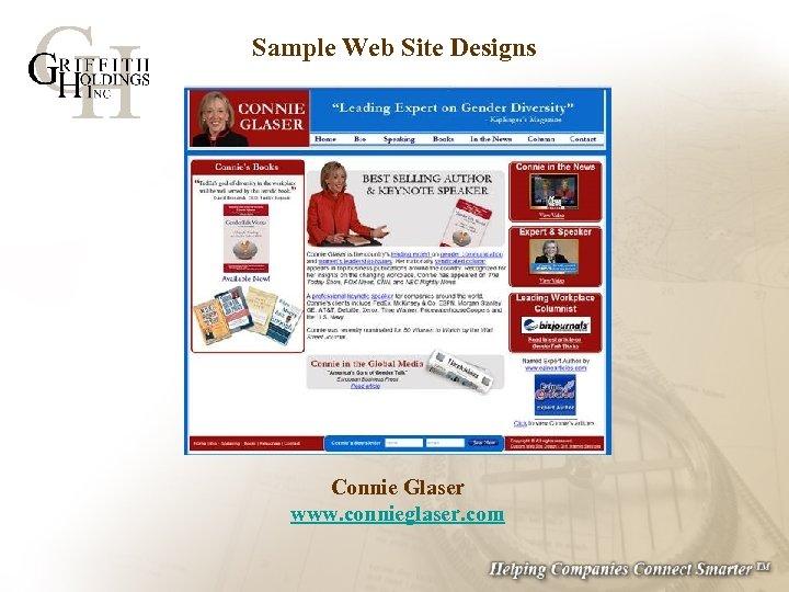 Sample Web Site Designs Connie Glaser www. connieglaser. com