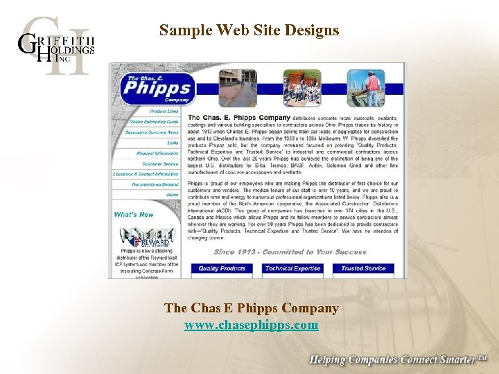 Sample Web Site Designs The Chas E Phipps Company www. chasephipps. com