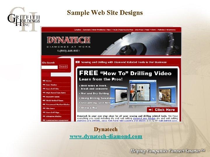 Sample Web Site Designs Dynatech www. dynatech-diamond. com