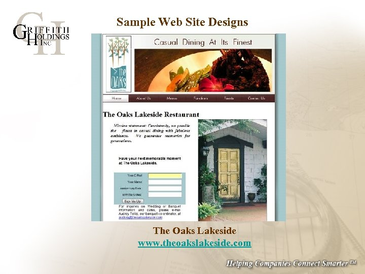 Sample Web Site Designs The Oaks Lakeside www. theoakslakeside. com