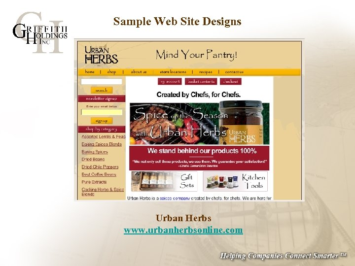 Sample Web Site Designs Urban Herbs www. urbanherbsonline. com